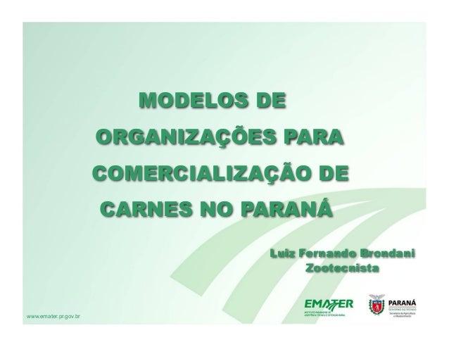 MODELOS DE                       ORGANIZAÇÕES PARA                       COMERCIALIZAÇÃO DE                       CARNES N...