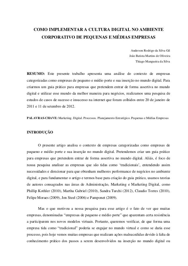 COMO IMPLEMENTAR A CULTURA DIGITAL NO AMBIENTE          CORPORATIVO DE PEQUENAS E MÉDIAS EMPRESAS                         ...