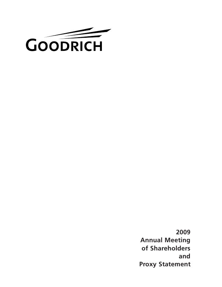 2009 Annual Meeting  of Shareholders             and Proxy Statement