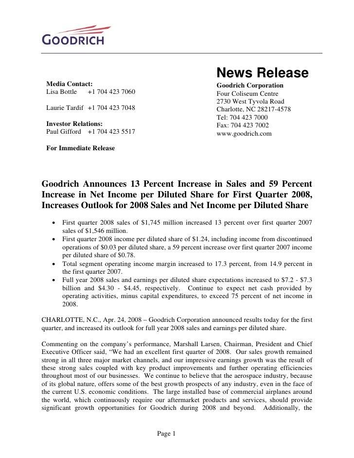 News Release  Media Contact:                                                 Goodrich Corporation  Lisa Bottle +1 704 423 ...