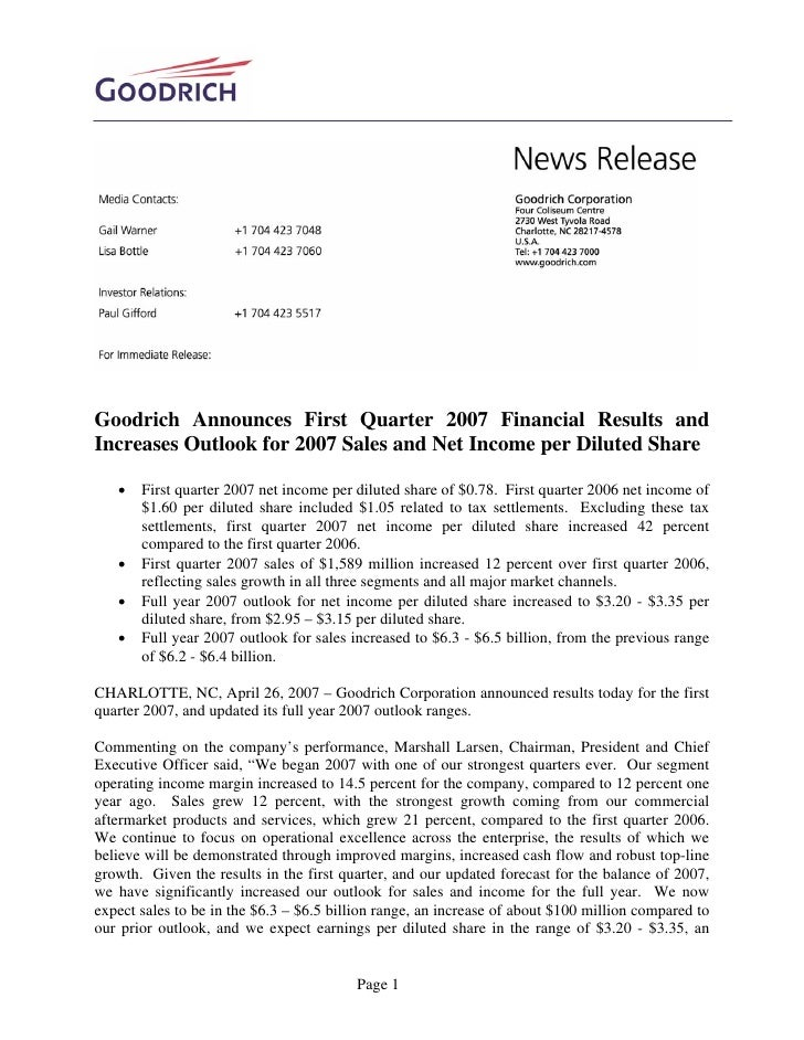 Goodrich Announces First Quarter 2007 Financial Results and Increases Outlook for 2007 Sales and Net Income per Diluted Sh...