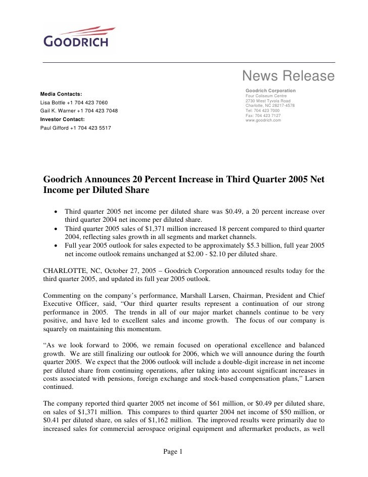 News Release                                                                        Goodrich Corporation Media Contacts:  ...