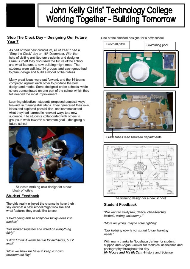 """Stop The Clock Day – Designing Our Future Year 7 As part of their new curriculum, all of Year 7 had a """"Stop the Clock"""" day..."""