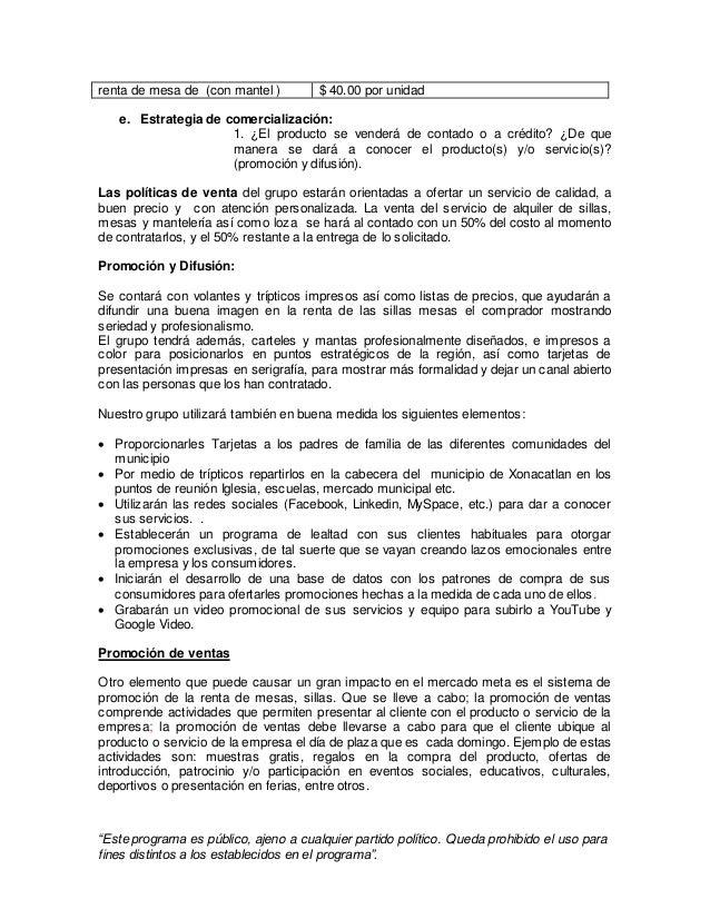 Proyecto De Renta De Mesas Y Sillas