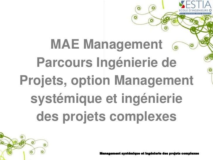 MAE Management  Parcours Ingénierie deProjets, option Management systémique et ingénierie  des projets complexes          ...
