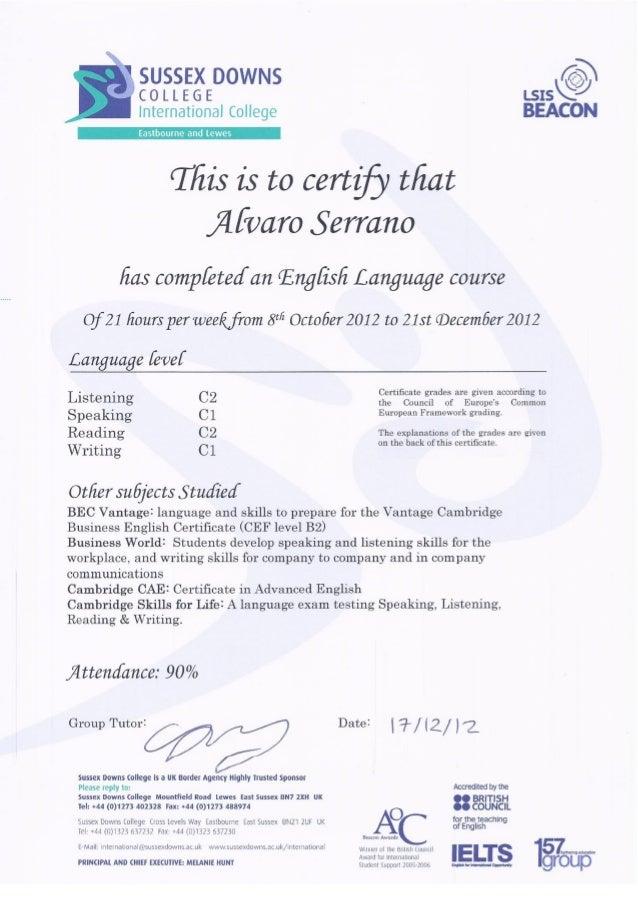 Alvaro. Certificado de Inglés