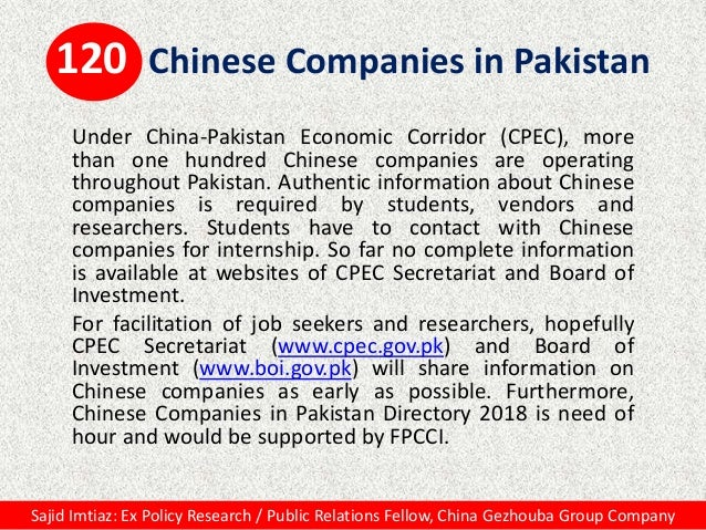 120 Chinese Companies in Pakistan Under China-Pakistan Economic Corridor (CPEC), more than one hundred Chinese companies a...