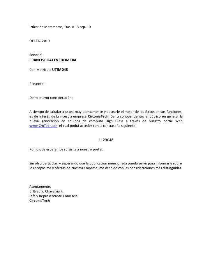 Izúcar de Matamoros, Pue. A 13 sep. 10OFI-TIC-2010Señor(a):FRANCISCOACEVEDOMEJIACon Matricula UTIM048Presente.-De mi mayor...