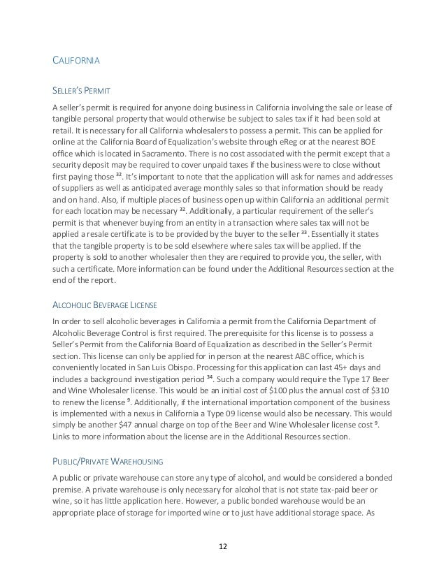 Wine Company Legal Requirements Report New Citation Format