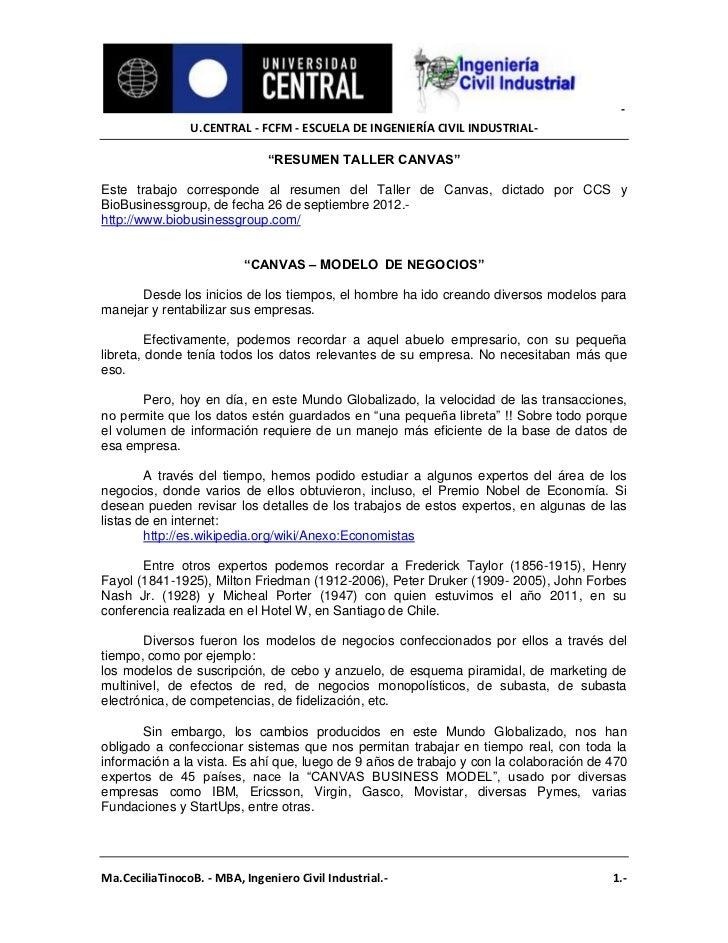 """-                U.CENTRAL - FCFM - ESCUELA DE INGENIERÍA CIVIL INDUSTRIAL-                               """"RESUMEN TALLER ..."""