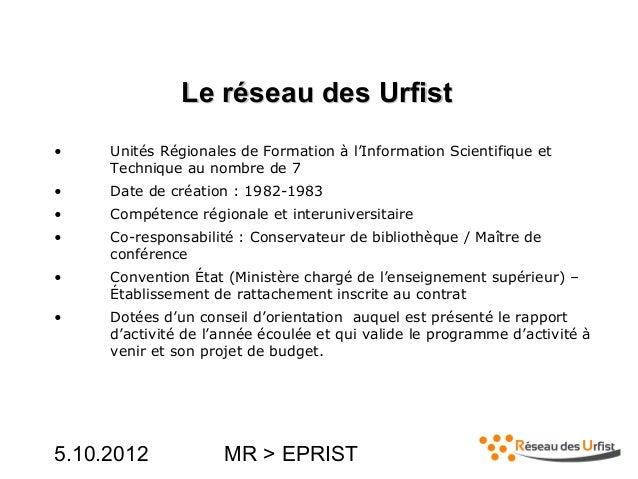 Le réseau des Urfist Slide 2