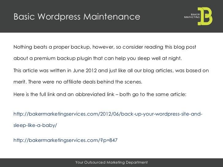 Basic WordPress Maintenance slideshare - 웹