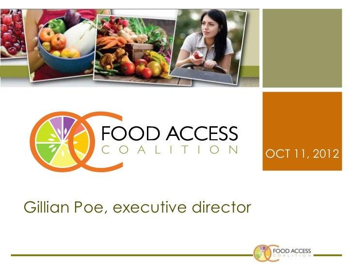 OCT 11, 2012Gillian Poe, executive director