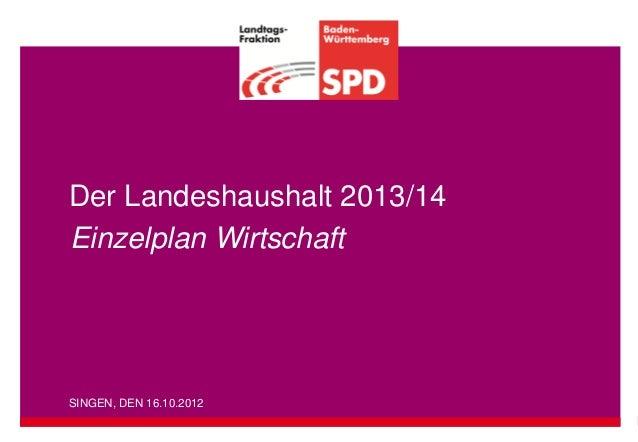 Der Landeshaushalt 2013/14Einzelplan WirtschaftSINGEN, DEN 16.10.2012