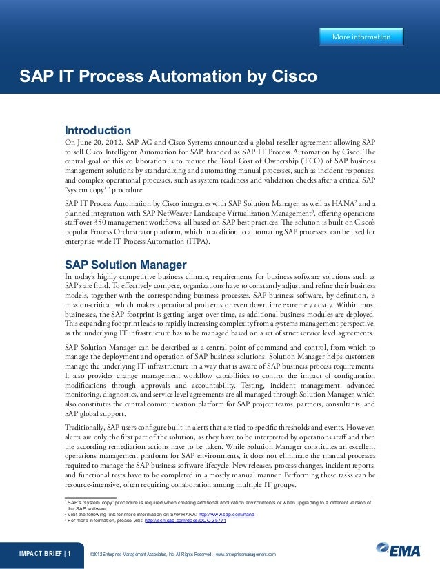 SAP IT Process Automation by Cisco              Introduction              On June 20, 2012, SAP AG and Cisco Systems annou...