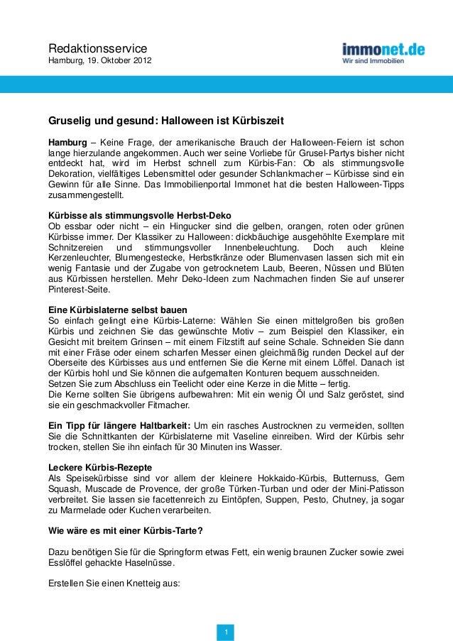 RedaktionsserviceHamburg, 19. Oktober 2012Gruselig und gesund: Halloween ist KürbiszeitHamburg – Keine Frage, der amerikan...