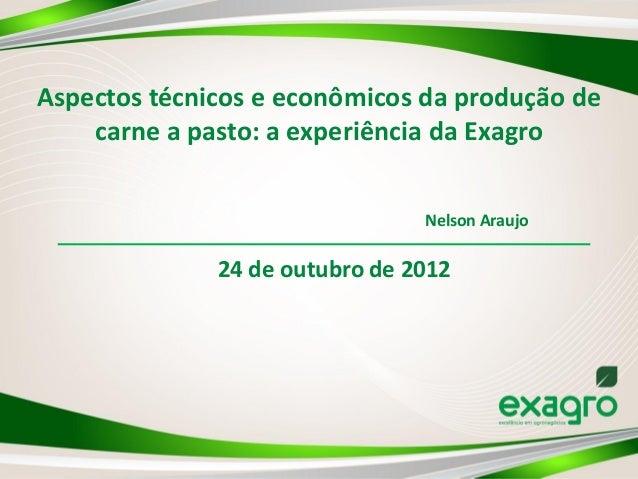 Aspectos técnicos e econômicos da produção de    carne a pasto: a experiência da Exagro                                Nel...