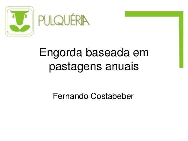 Engorda baseada em pastagens anuais  Fernando Costabeber