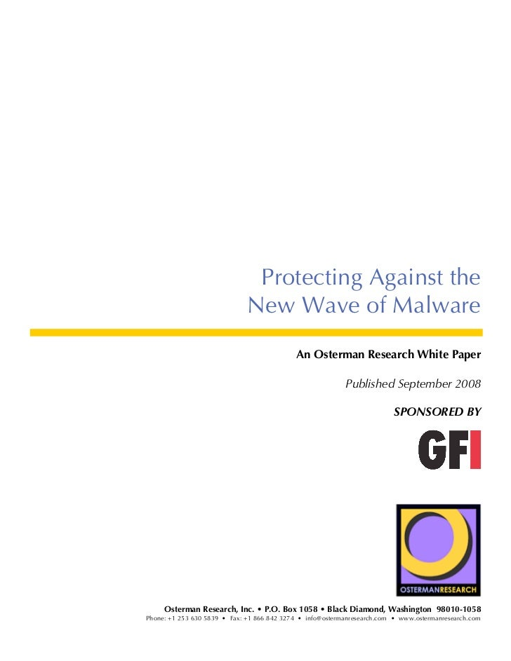 Protecting Against the                              New Wave of Malware                                            An Oste...