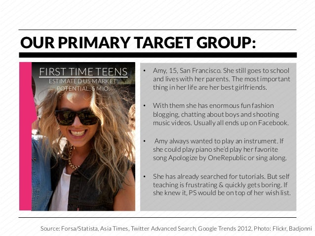 OUR PRIMARY TARGET GROUP:  FIRST TIME TEENS                      • Amy, 15, San Francisco. She still goes to school     E...