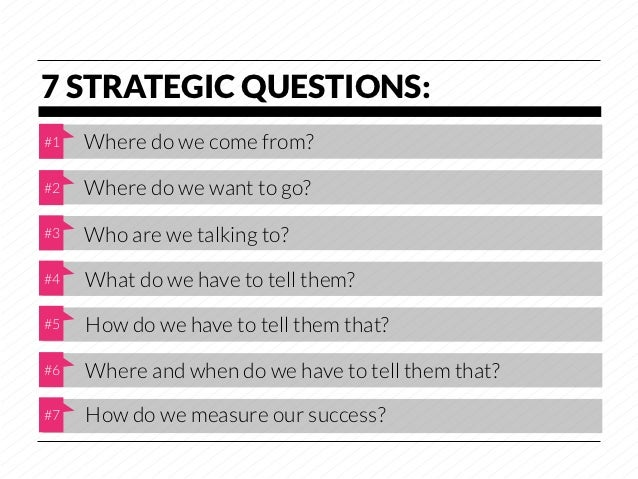 7 STRATEGIC QUESTIONS:#1   Where do we come from?#2   Where do we want to go?#3   Who are we talking to?#4   What do we ha...