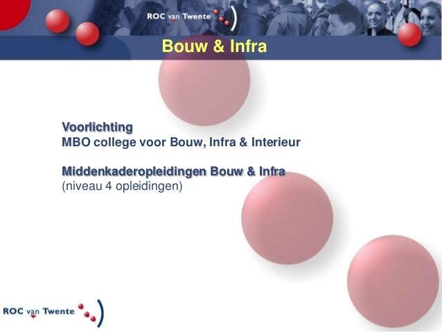 Bouw & InfraVoorlichtingMBO college voor Bouw, Infra & InterieurMiddenkaderopleidingen Bouw & Infra(niveau 4 opleidingen)