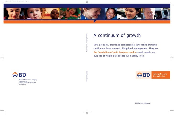 A continuum of growth Becton, Dickinson and Company                                     New products, promising technologi...