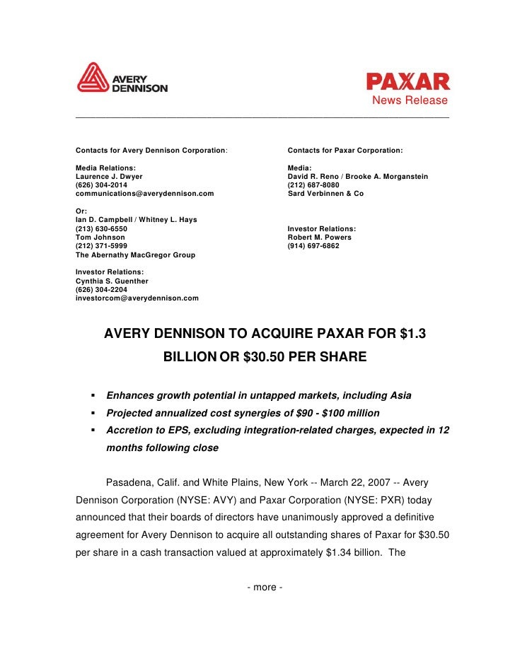 News Release __________________________________________________________________________   Contacts for Avery Dennison Corp...