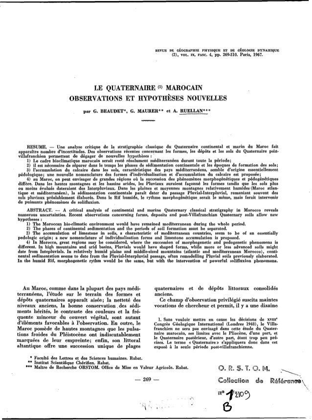 REVUE DE CÉOCRAPHIE PHYSIQUE ET DE CÉOLOCIE DYNAMIQUE (2), VOL. IX, FASC. 4, pp. 269,310. Paris, 1967. LE QUATERNAIRE MARO...