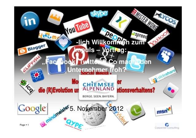 """-lich Willkommen zum                    Impuls – Vortrag:           """"Facebook, Twitter & Co macht den                  Unt..."""