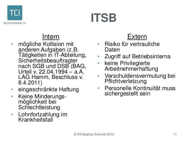 ITSB            Intern                                   Extern• mögliche Kollision mit               • Risiko für vertrau...