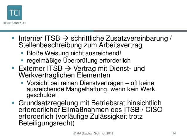  Interner ITSB  schriftliche Zusatzvereinbarung /  Stellenbeschreibung zum Arbeitsvertrag   Bloße Weisung nicht ausreic...