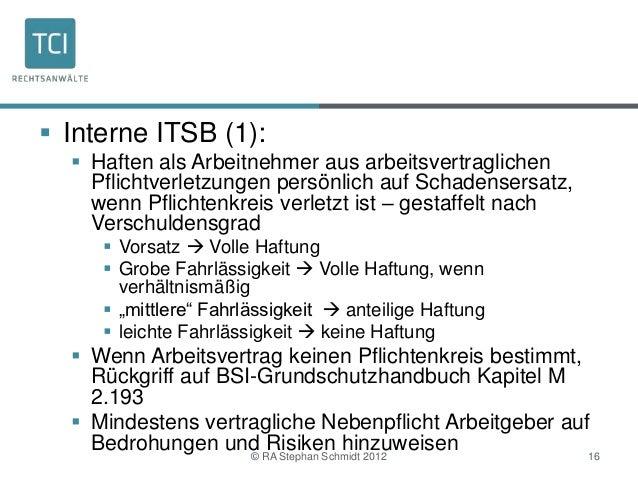  Interne ITSB (1):   Haften als Arbeitnehmer aus arbeitsvertraglichen    Pflichtverletzungen persönlich auf Schadensersa...