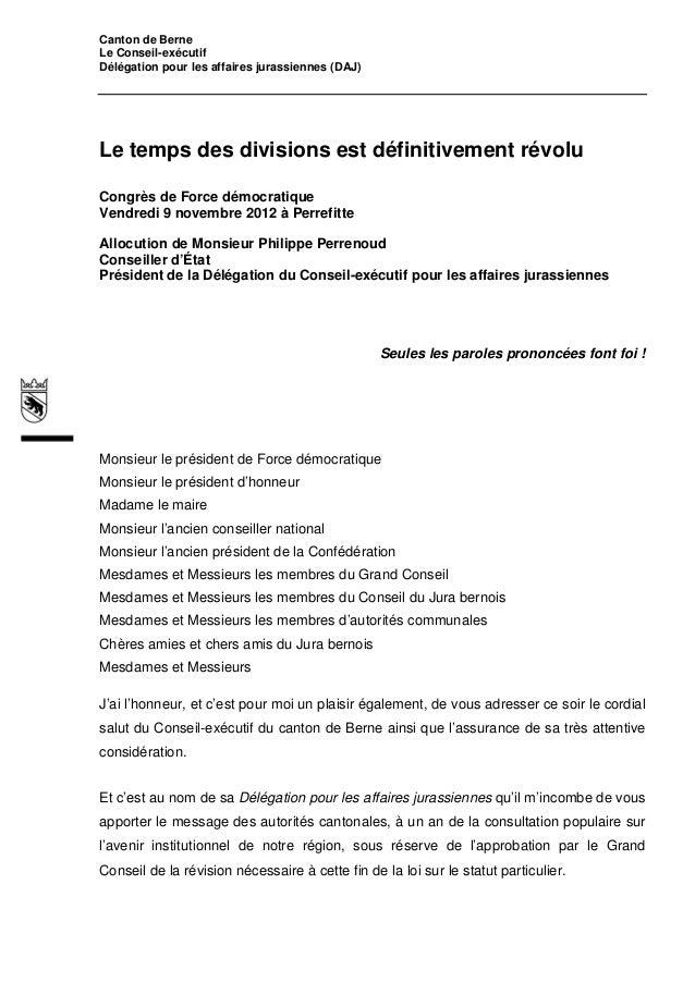 Canton de BerneLe Conseil-exécutifDélégation pour les affaires jurassiennes (DAJ)Le temps des divisions est définitivement...