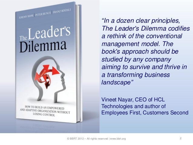"""""""In a dozen clear principles,                           The Leaders Dilemma codifies                           a rethink o..."""