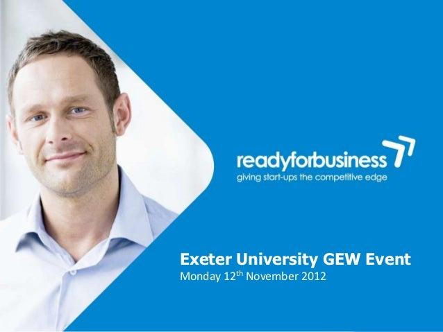 Exeter University GEW EventMonday 12th November 2012