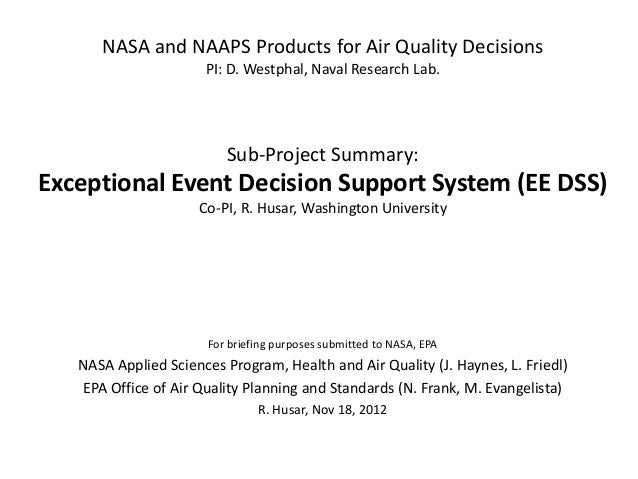 NASA and NAAPS Products for Air Quality Decisions                      PI: D. Westphal, Naval Research Lab.               ...