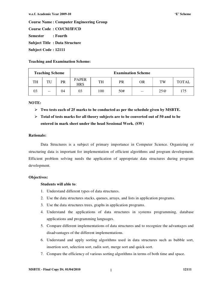w.e.f. Academic Year 2009-10                                                                'E' SchemeCourse Name : Comput...