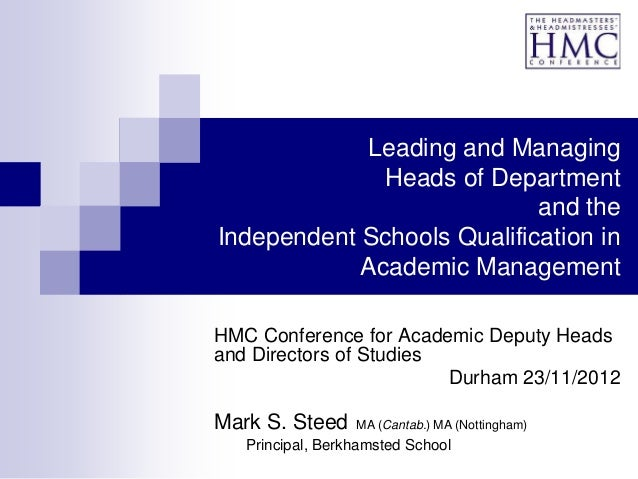Leading and Managing              Heads of Department                            and theIndependent Schools Qualification ...
