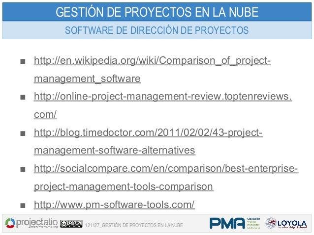 GESTIÓN DE PROYECTOS EN LA NUBE         SOFTWARE DE DIRECCIÓN DE PROYECTOS■ http://en.wikipedia.org/wiki/Comparison_of_pro...