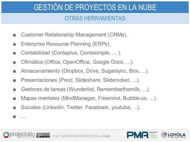 GESTIÓN DE PROYECTOS EN LA NUBE                        OTRAS HERRAMIENTAS■ Customer Relationship Management (CRMs).■ Enter...