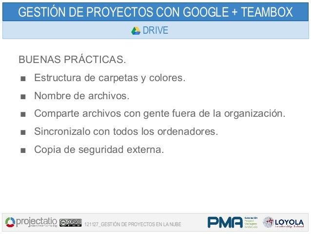 GESTIÓN DE PROYECTOS CON GOOGLE + TEAMBOX                                   DRIVEBUENAS PRÁCTICAS.■ Estructura de carpetas...