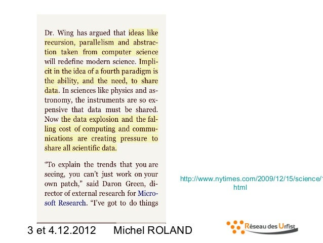 http://www.nytimes.com/2009/12/15/science/1 html  3 et 4.12.2012  Michel ROLAND