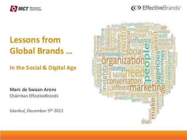Lessons fromGlobal Brands …In the Social & Digital AgeMarc de Swaan AronsChairman EffectiveBrandsIstanbul, December 5th 20...