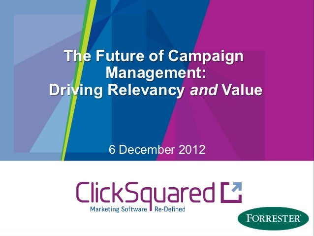 The Future of Campaign        Management:Driving Relevancy and Value       6 December 2012