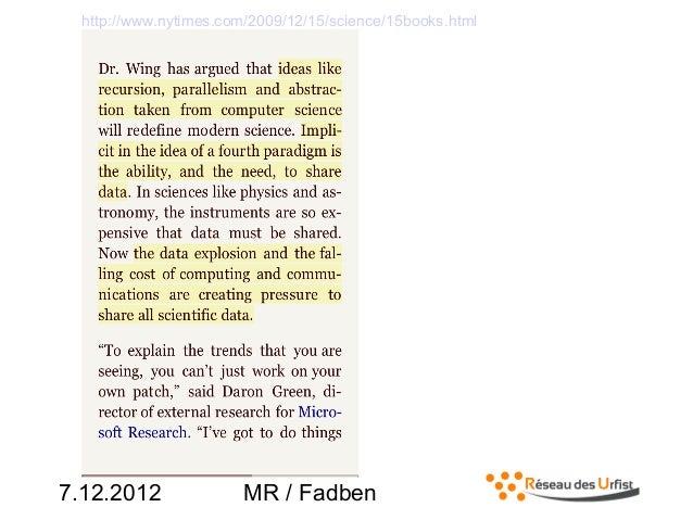 7.12.2012 MR / Fadbenhttp://www.nytimes.com/2009/12/15/science/15books.html