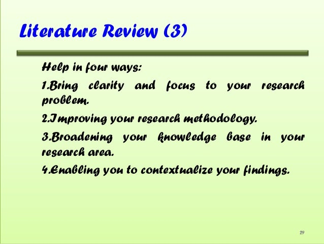 Initial step in the process of writing a literature review