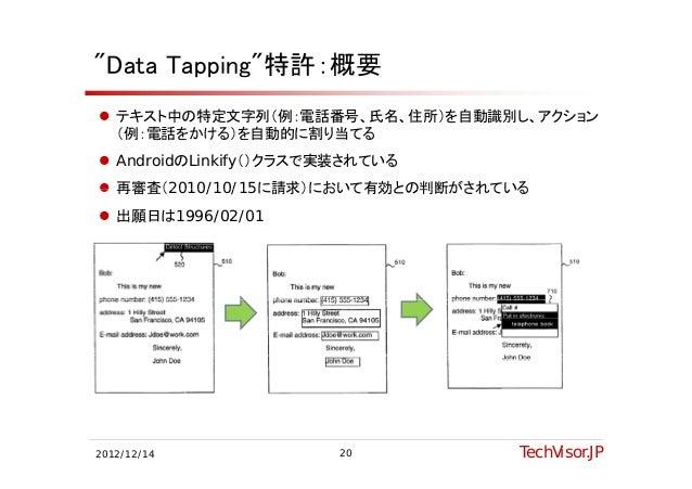 """Data Tapping""特許:概要 テキスト中の特定文字列(例:電話番号、氏名、住所)を自動識別し、アクション  (例:電話をかける)を自動的に割り当てる AndroidのLinkify()クラスで実装されている 再審査(2010/1..."
