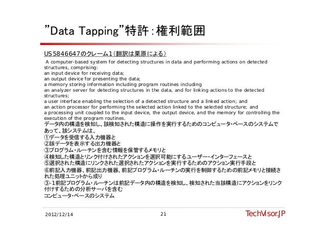 """""""Data Tapping""""特許:権利範囲US5846647のクレーム1(翻訳は栗原による) A computer-based system for detecting structures in data and performing act..."""
