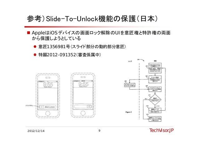参考)Slide-To-Unlock機能の保護(日本) AppleはiOSデバイスの画面ロック解除のUIを意匠権と特許権の両面  から保護しようとしている    意匠1356981号(スライド部分の動的部分意匠)    特願2012 09...